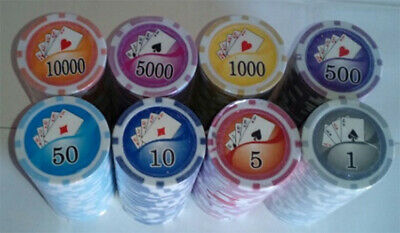 400 Poker chips royal flush design 8 stripe chip 11.5 gram choice of 8