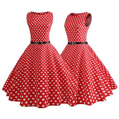 Womens Vintage Style Polka Dot 1950s 60s Rockabilly Evening Party Swing Dress