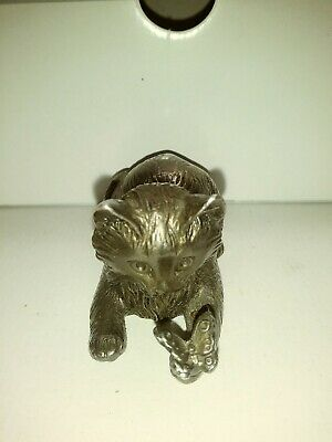 Reed & Barton Silver-plated Musical Cat Figurine with Butterfly