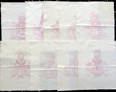 """Lot 9 VTG Girls From Around the World 12x15"""" Quilt Panels to Embroider (RF954)"""