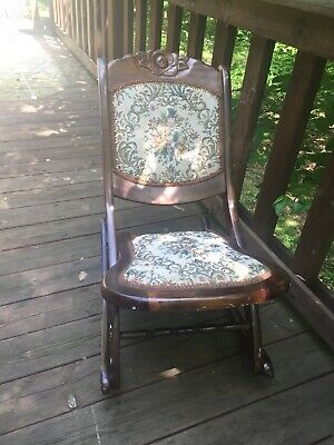 Vintage Tapestry Hardwood Wood Folding Rocking Chair Victorian Carving / Design