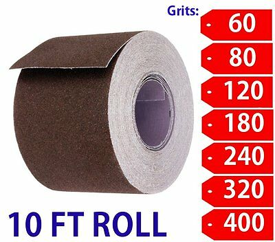 "2"" Wide Emery Cloth 10ft Roll, Aluminum Oxide, Cloth Back 180 Grit-Very Fine"
