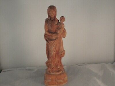 Wood  carved Madonna  and  child  Virgin Mary and Jesus child  statue