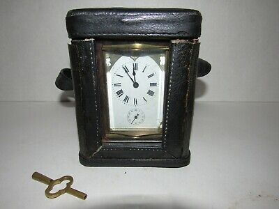 Antique French Carriage Clock with Alarm in Original Case, 8-Day, Key-wind