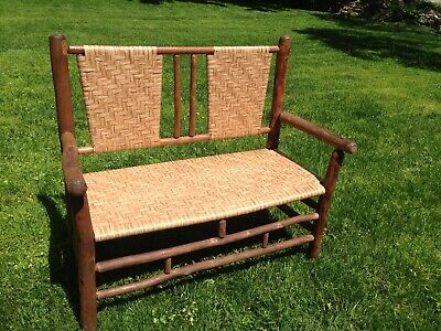 Old Hickory Vintage Settee Furniture Bench Rare New Seat And Back NICE