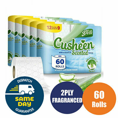 Cusheen AloeVera 60 Toilet Tissue Rolls 3 Ply Luxury Quilt Bathroom Strong Paper
