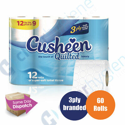 Cusheen White 60 Toilet Tissue Rolls 3 Ply Luxury Quilt Bathroom Strong Paper