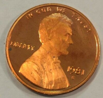 1981-S (type 2) PROOF Lincoln Memorial cent. (lot#8) mild tone, tiny specks