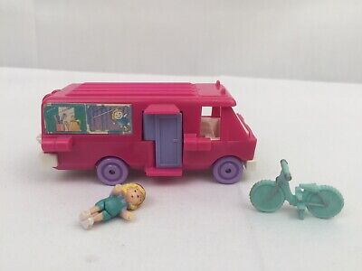 Vintage Polly Pocket HOME ON THE GO RV Camper Van 1994 Bluebird Bike