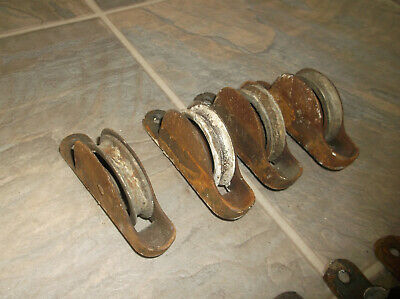 Vintage Lot of 4 Cast Metal Window Sash Rope Weight Roller Pulleys