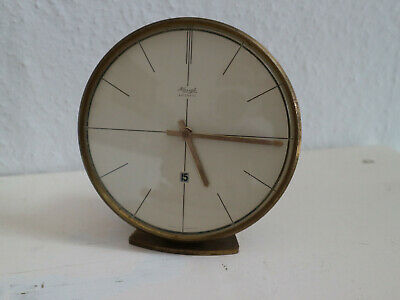 Tischuhr Uhr Kienzle automatic Table Clock Messing Datumsanzeige 50er Batterie