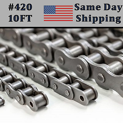 #420-1R Roller Chain - 10 Feet With 1 Extra Connecting Link + Same Day Shipping