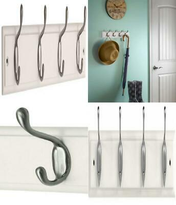 keypak 4-Hook Wall-Mounted Coat Rack, White, Brushed Nickel, 4 Hook, Nickel/...