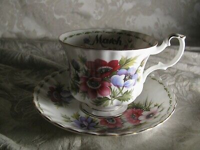 Vtg Royal Albert Bone China Anemones March Flower month Tea Cup England Saucer