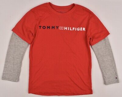 TOMMY HILFIGER Boys' Kids Layered Look Long Sleeve Top, Red/Grey, 8-14 years