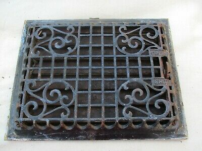 "Antique Cast-Iron Floor Or Wall Mount Heating Grate 12 X  9 "" Original Paint"