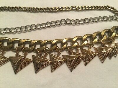 Heavy Mixed Metal Chains Art Deco Pyramid Necklace Pendant Vintage Jewelry