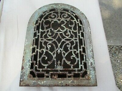 Antique Arched Top Ornate Cast Iron Floor Register Grate Vent  PATINA 8 x 12 ins