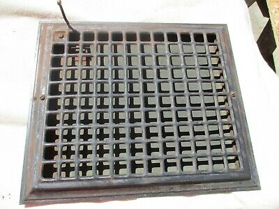 Large Antique Vintage Victorian Early Metal Floor Register Heat Grate 10 x 12
