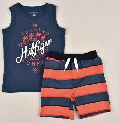 TOMMY HILFIGER Boys' Kids' 2pc Summer Outfit Set, Shorts & Tank Top, 3 4 years