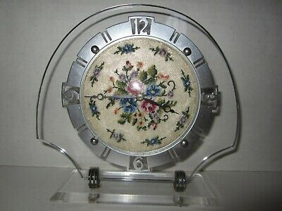 Antique/Vintage German Mechanical Desk Clock with Center Dial Flowers