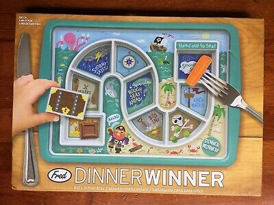 Brand New! Fred Childrens Dinner Winner Pirate Kid's Eat-as-you-go Dinner Tray
