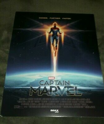 "Captain Marvel Amc Imax 8.5"" X 11"" Poster Marvel Studios - Brand New Ships Flat"
