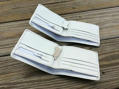 Lot 2 Mens White Wallet Supreme Genuine Real Leather Bifold Card Holder Handmade