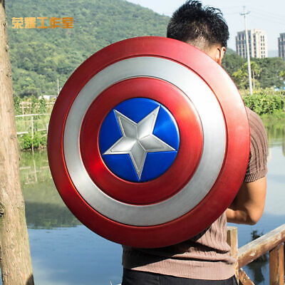Captain America 1:1 Shield  Aluminum alloy & ABS Magnet Back Strap 23.6in Decor