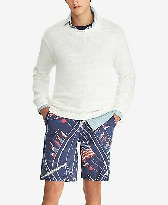 """New Mens Polo Ralph Lauren Relaxed Fit 10"""" Nautical Flag Print Blue Shorts 32"""