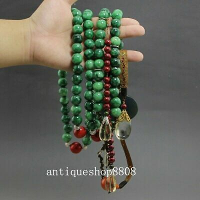 Chinese Green Jade Gem Crystal Palace Minister Official Court Beads Buddha Bead