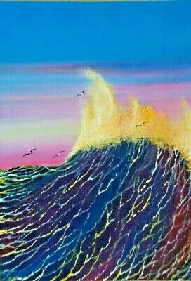 ACEO ORIGINAL Seagulls Waves Seascape Miniature Painting Ocean Painting HYMES