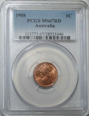 1988 Australian 1c One Cent coin PCGS MS67RD- Pop 20- only 2 graded higher