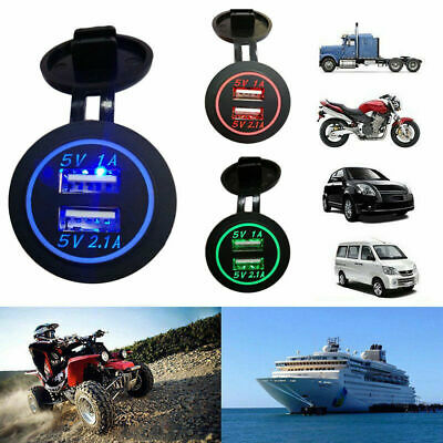 12V Dual USB Port Car Cigarette Lighter Socket Plug LED Voltmeter Waterproof New