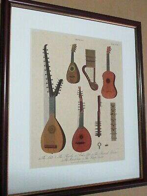 Musical Instruments. 1818. Guitar. (Antique print)
