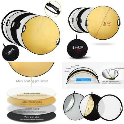 Selens 5-In-1 43 Inch (110Cm) Portable Handle Round Reflector Collapsible Multi