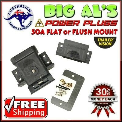 50Amp Trailervision FLUSH FLAT Mounting Mount Kit Cap Cover Suits Anderson Plugs