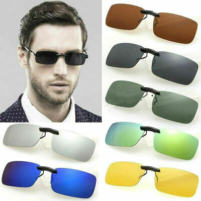 UV400 Sunglasses Polarized Clip On Flip-up Driving Glasses Day&Night Vision Lens