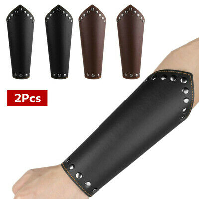 2 Pcs Mens Faux Leather Gauntlet Wristband Arm Guards Knight Bracers Props New