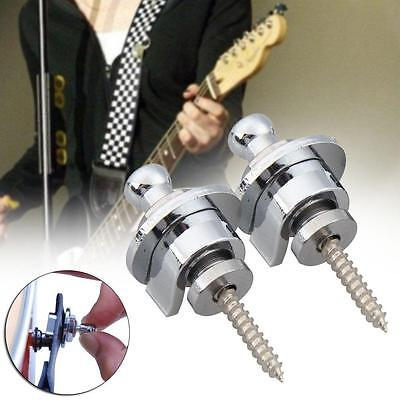 2 pcs Chrome Schaller Style Round Head Strap Locks Straplocks For Guitar Bass JM