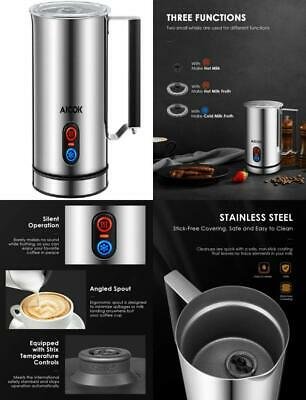 Froth and Heat Milk Silent Operation Perfect for Cappuccinos Electric Double Wall Milk Steamer with Strix Controller Lattes Aicok Milk Frother Matcha Non-Stick Coating