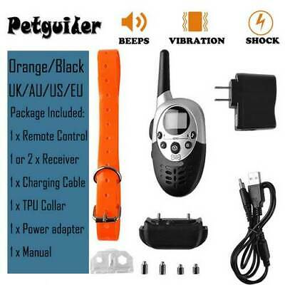 IP68 Pet Dog Training Collar Rechargeable Electric Shock LCD Anti-bark 1000M