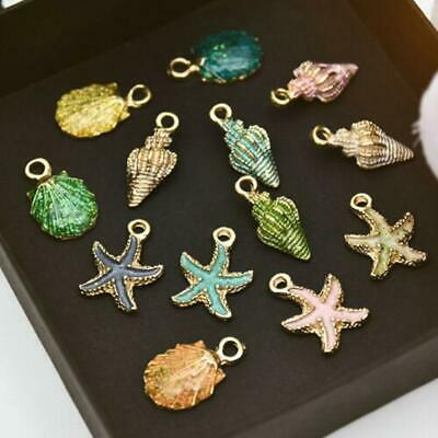 13Pcs  Mixed Starfish Conch Shell Plastic Charms Pendant DIY Jewelry Making set