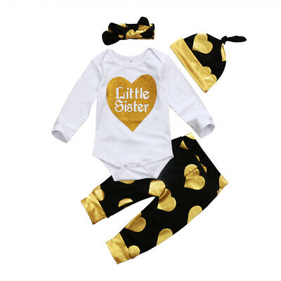 4PCS Newborn Baby Girls little sister Romper Bodysuit Pants Hat Outfits Set