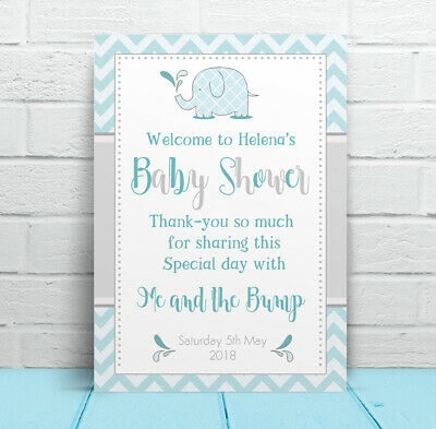 Welcome to my Baby Shower Personalised baby elephant Table Sign & Poem, Poster