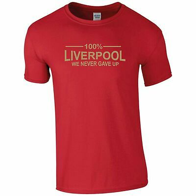 100% Liverpool Champions League Final 2019 Never Give Up T-Shirt Mens