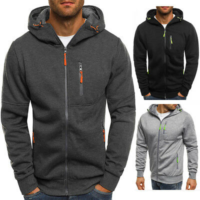 Mens Zip Up Hoodie Jacket Sweatshirt Hooded Pocket Casual Sports Coat Top Jumper