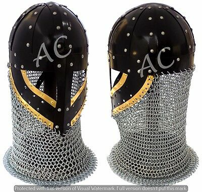 Historical Medieval Viking Helmet Battle Armor Iron Steel and Chain Mail W Stand