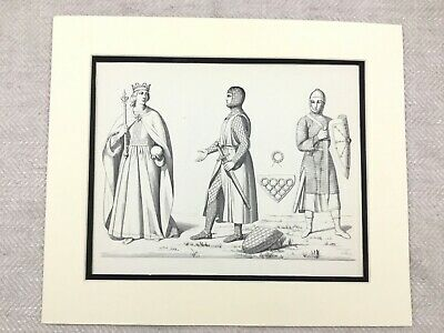 Vintage Costume Print Medieval Knight Suit of Armour Chain Mail Middle Ages