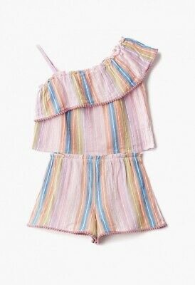 Outfit Girls 2 Piece Stripe One Shoiulder Top & Shorts Set - Age: 6 Years